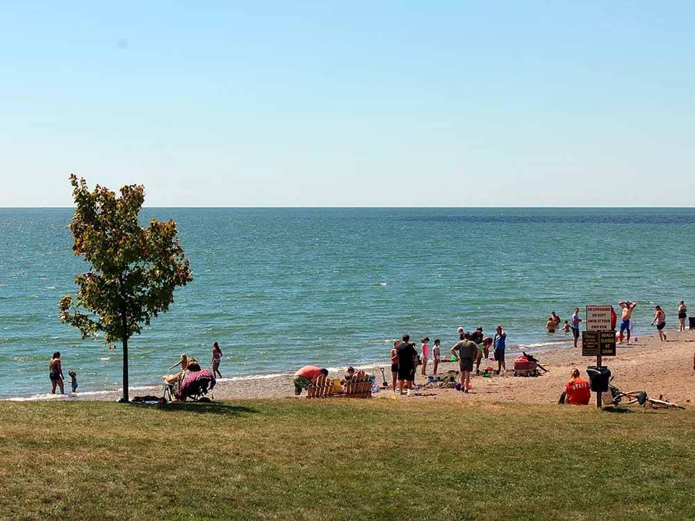 Campers sitting at a picnic table next to RVs at CAMPERS COVE CAMPGROUND