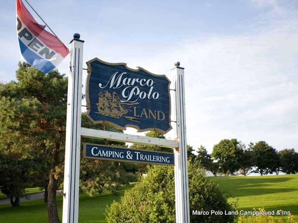 Sign at entrance to RV park at MARCO POLO LAND