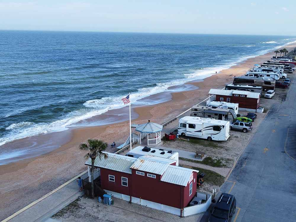 Trailers camping on the water at BEVERLY BEACH CAMPTOWN RV RESORT  CAMPERS VILLAGE