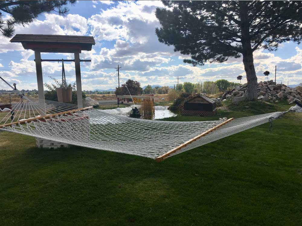 A hammock on the grass at SILVER STATE RV PARK