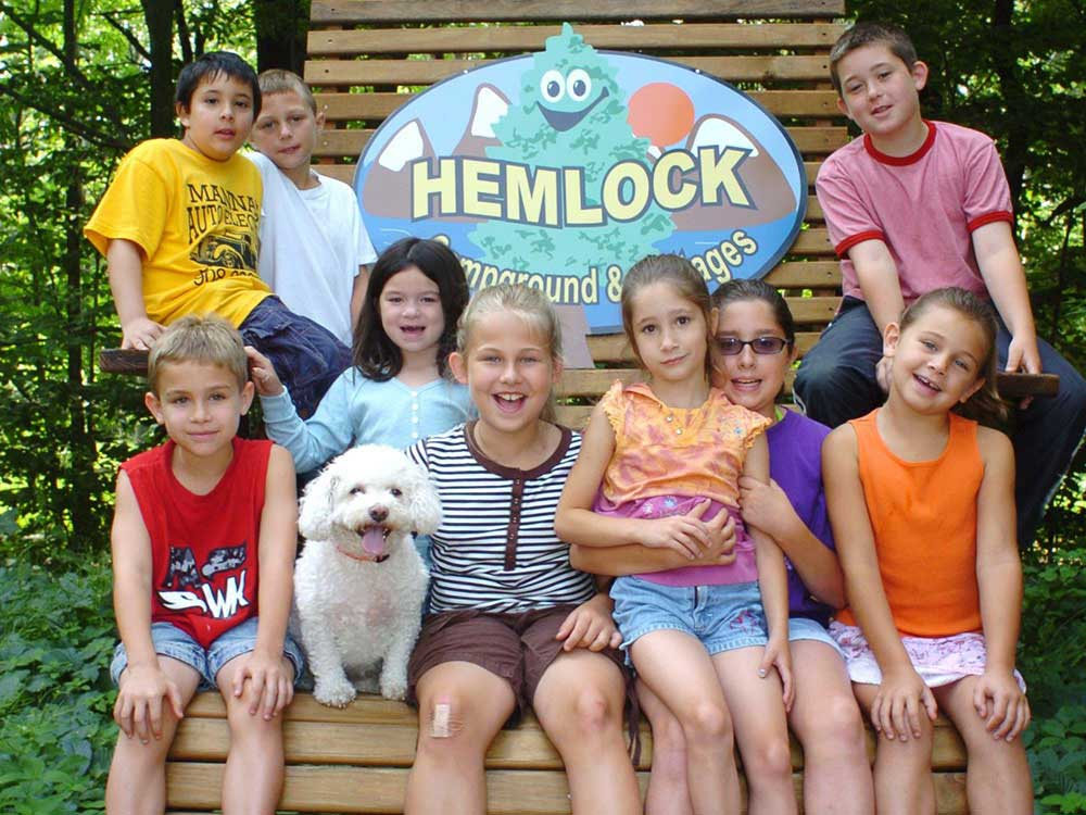 Kids having fun at HEMLOCK CAMPGROUND  COTTAGES