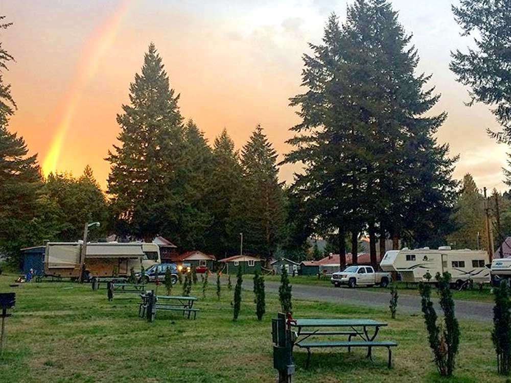 Rainbow over campgrounds at LONE FIR RESORT
