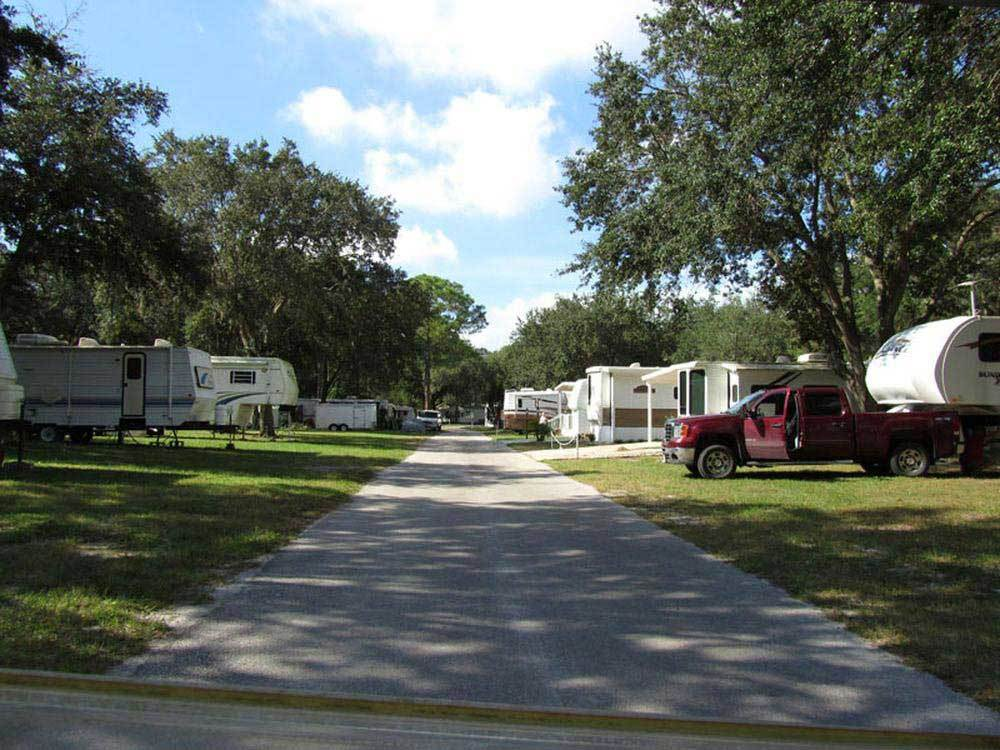 Road leading into campground at TAMPA EAST RV RESORT