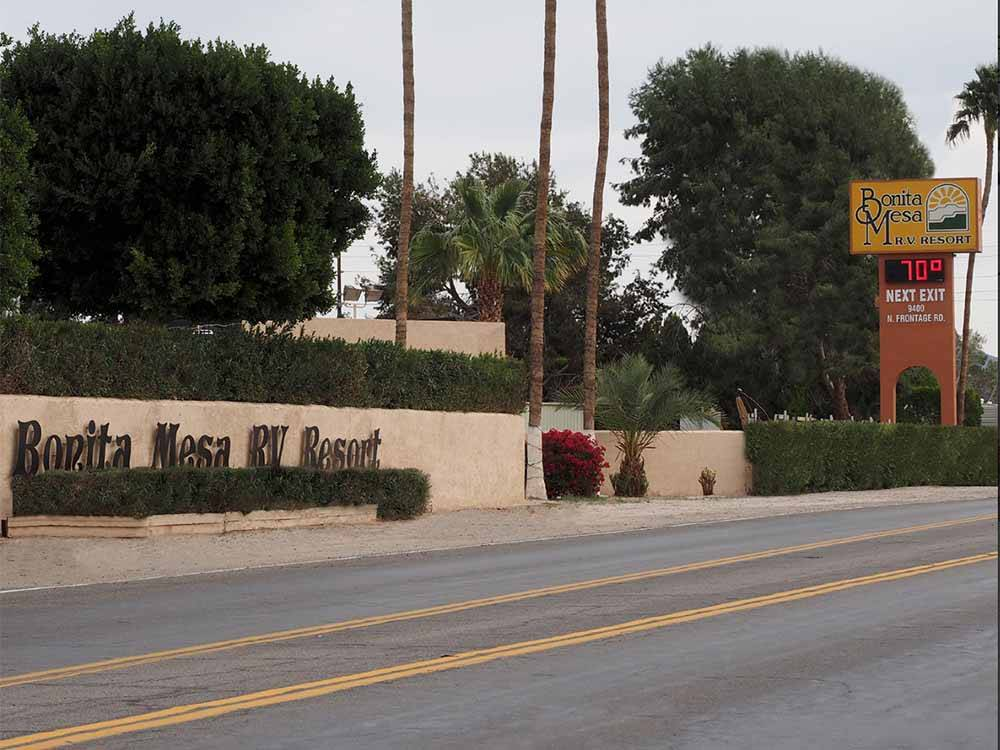 The front entrance sign at BONITA MESA RV RESORT