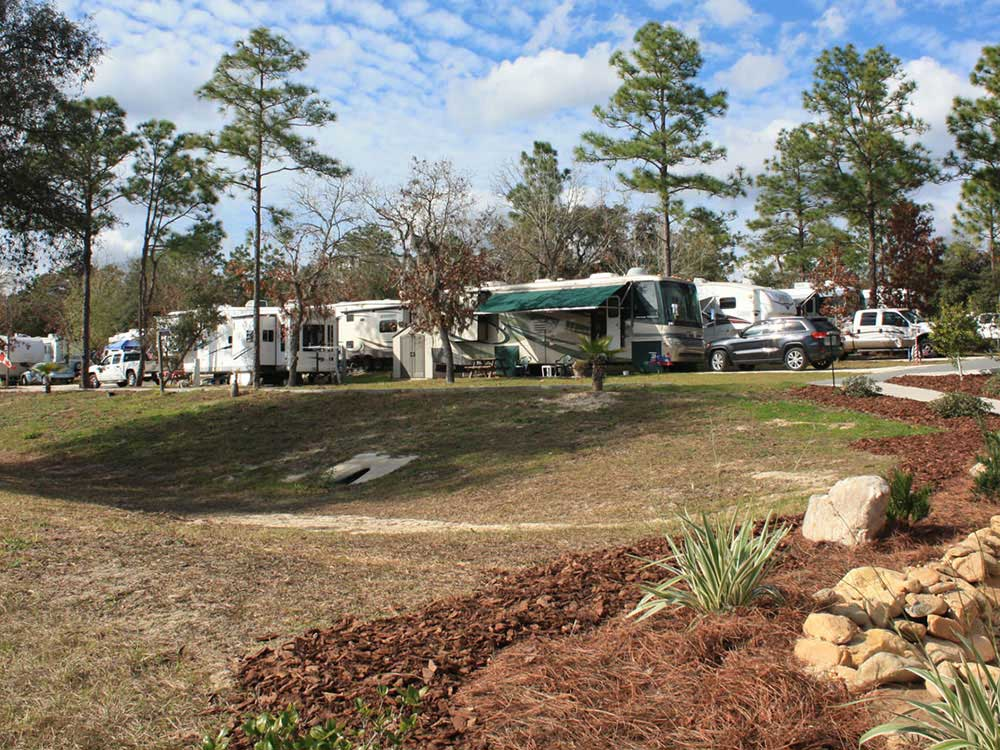Trailers camping at SANDY OAKS RV RESORT