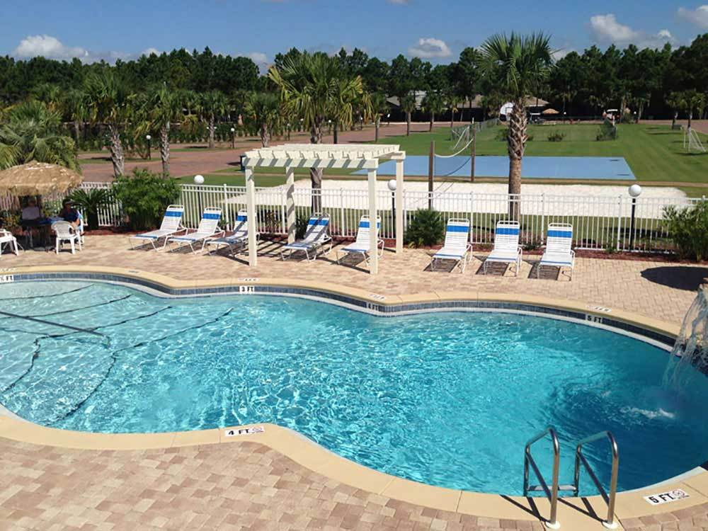 Swimming pool at campground at EMERALD COAST RV BEACH RESORT
