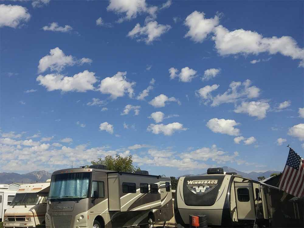 An overview of some of the RV sites at MISSION RV PARK