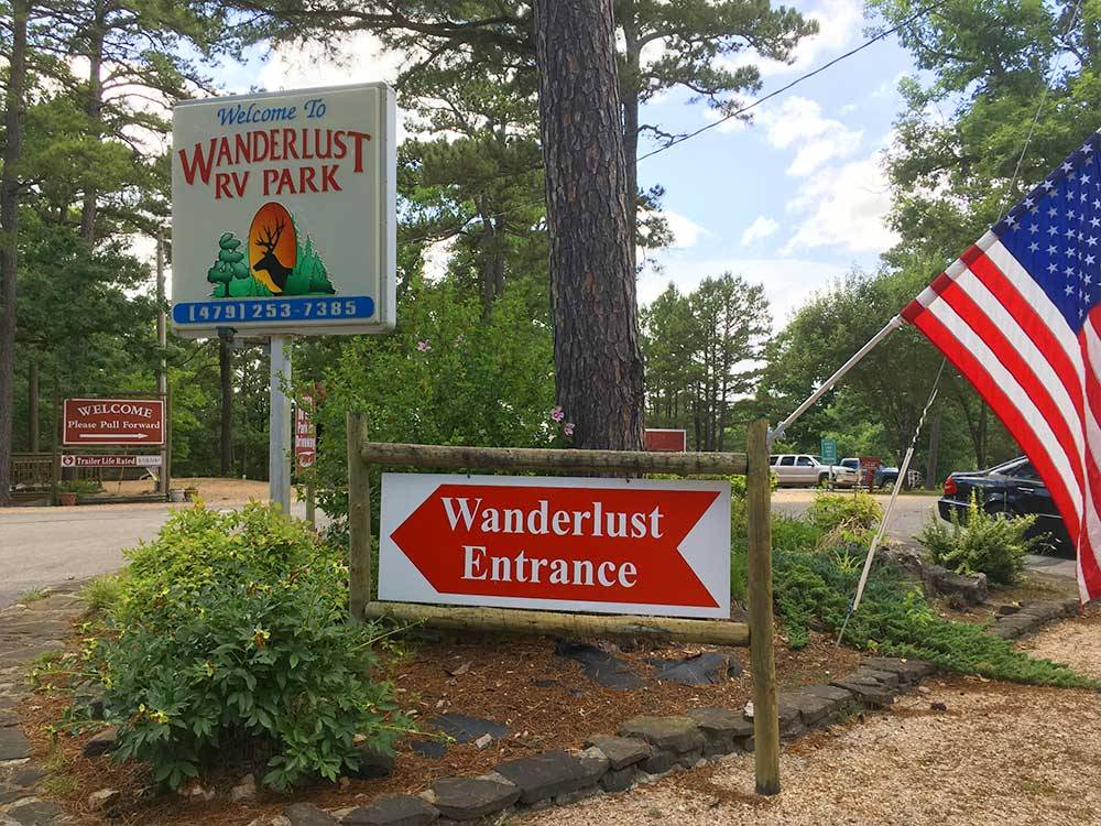 Sign at entrance to RV park at WANDERLUST RV PARK