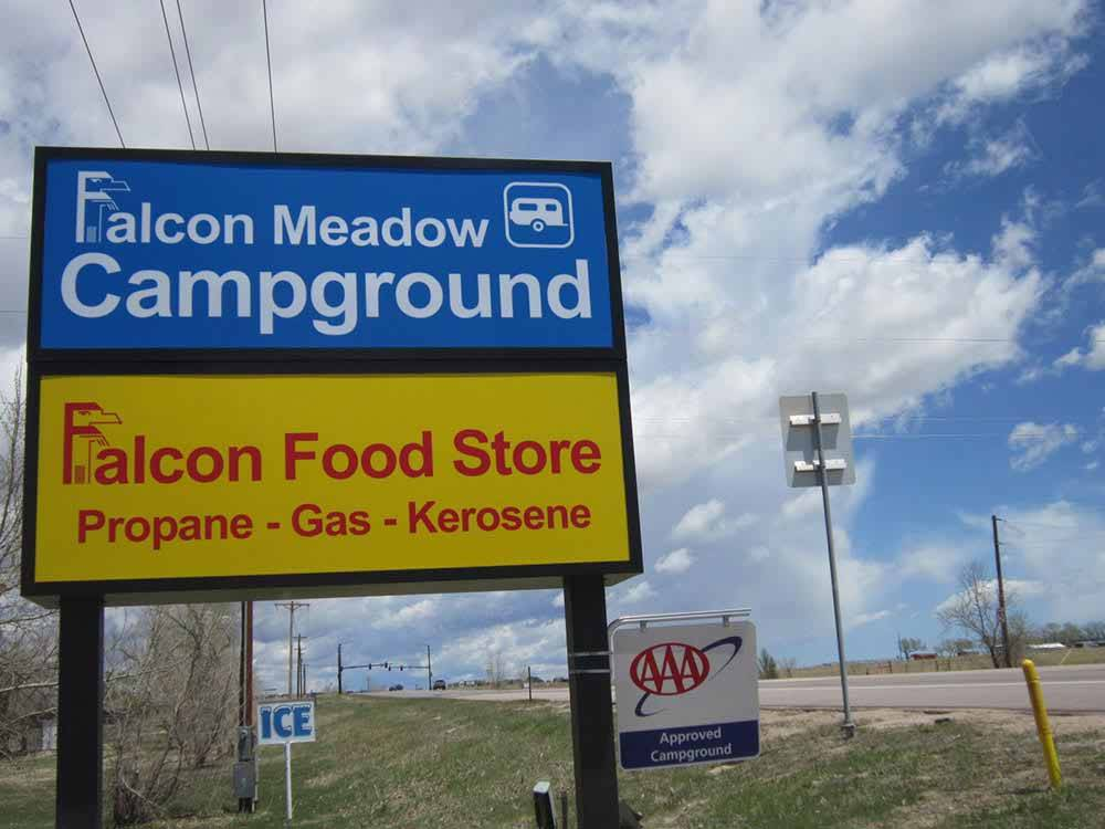 Sign at entrance to RV park at FALCON MEADOW RV CAMPGROUND