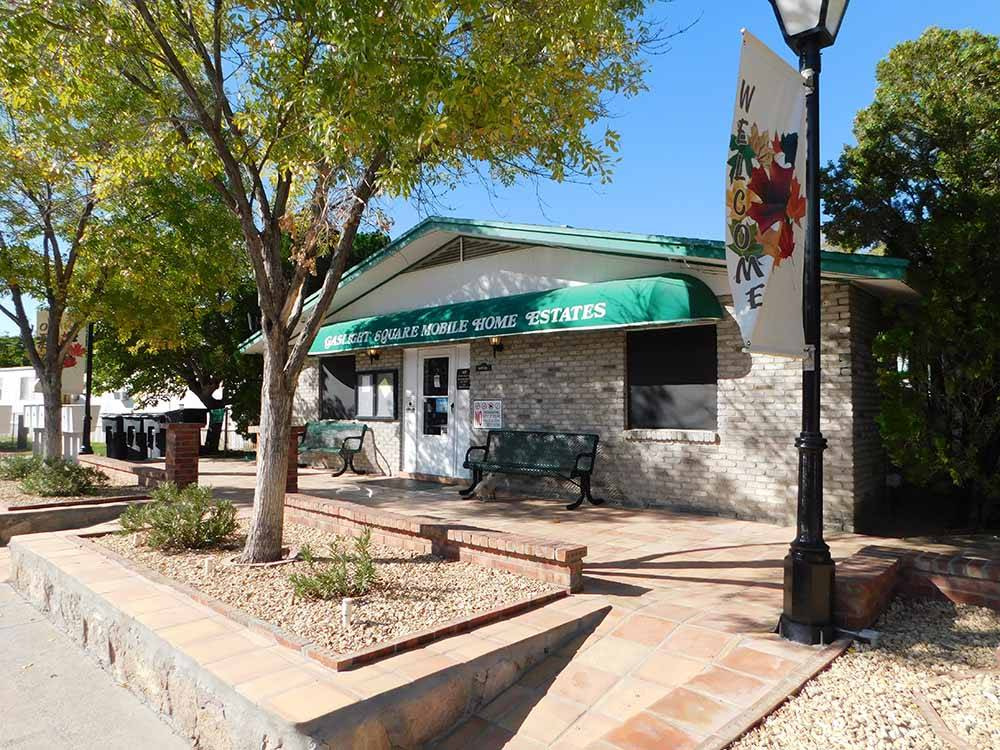 Sign at entrance to RV park at GASLIGHT SQUARE MOBILE ESTATES