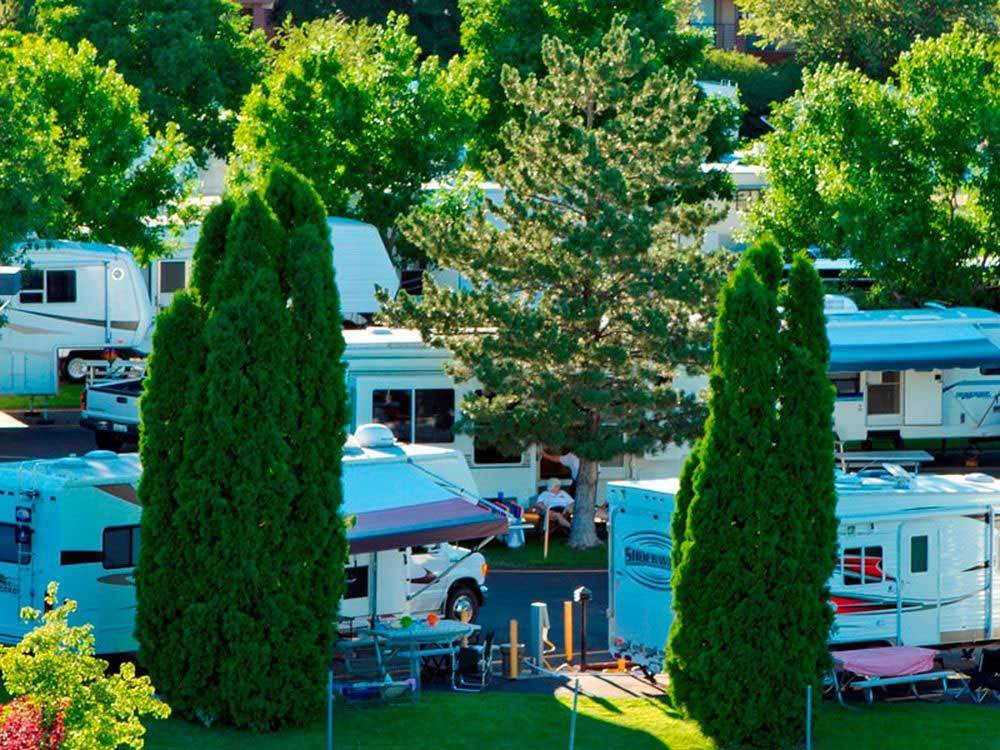 Aerial view over campground at CARSON VALLEY RV RESORT  CASINO