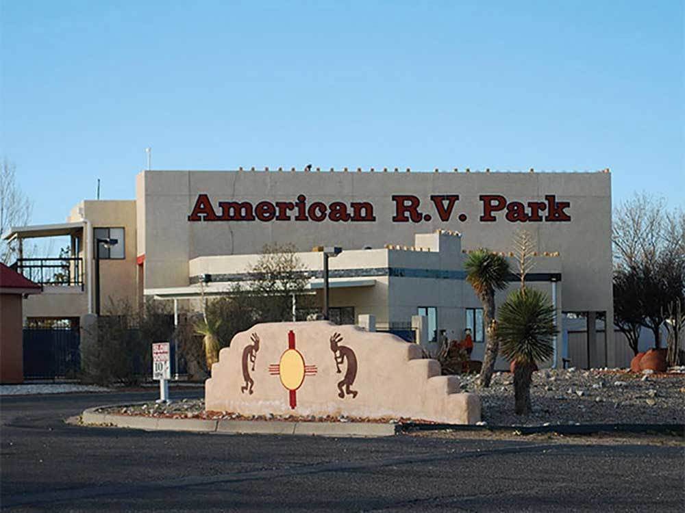 Sign at entrance to RV park at AMERICAN RV RESORT