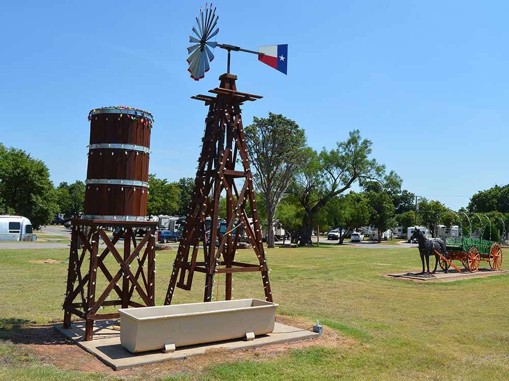 Windmill and water tank at WICHITA FALLS RV PARK