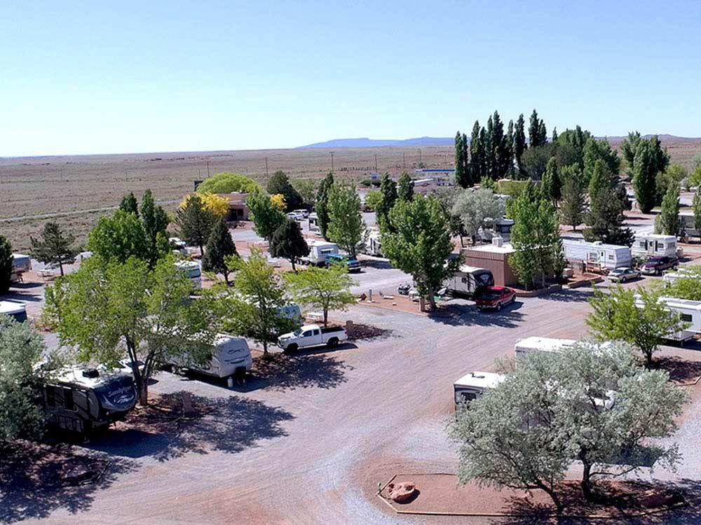 Aerial view over campground at METEOR CRATER RV PARK