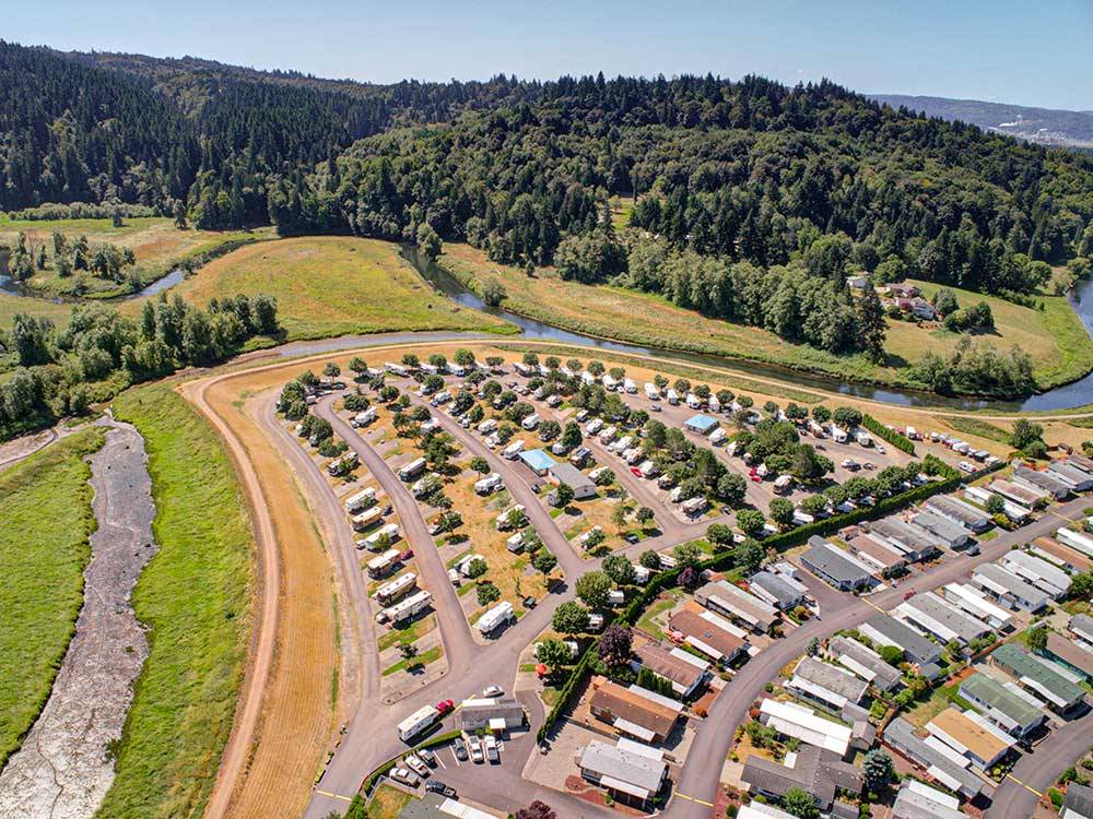 Aerial view of park with surrounding creeks at BROOKHOLLOW RV PARK