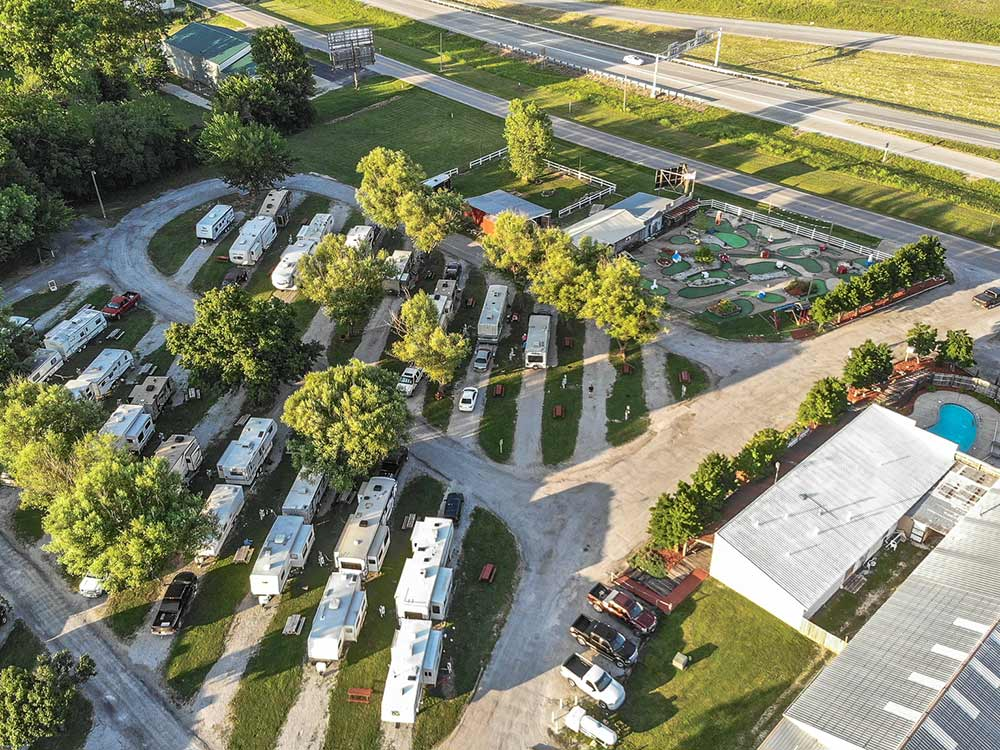 Amazing aerial view over resort at OSAGE PRAIRIE RV PARK