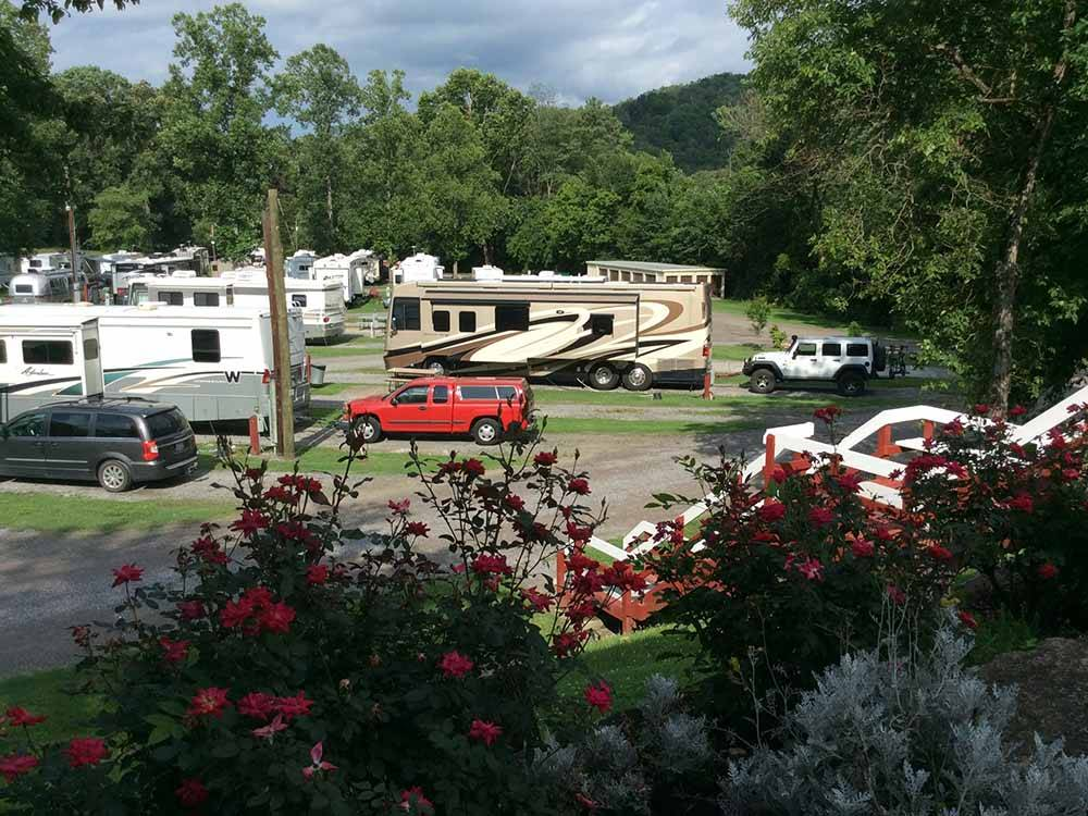 Looking at the RV sites from a hill at SOARING EAGLE CAMPGROUND  RV PARK