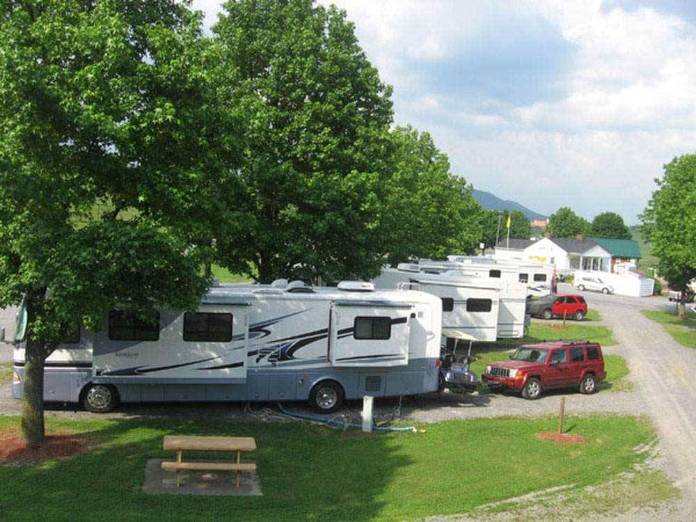 RVs camping in pull thru sites at FORT CHISWELL RV PARK