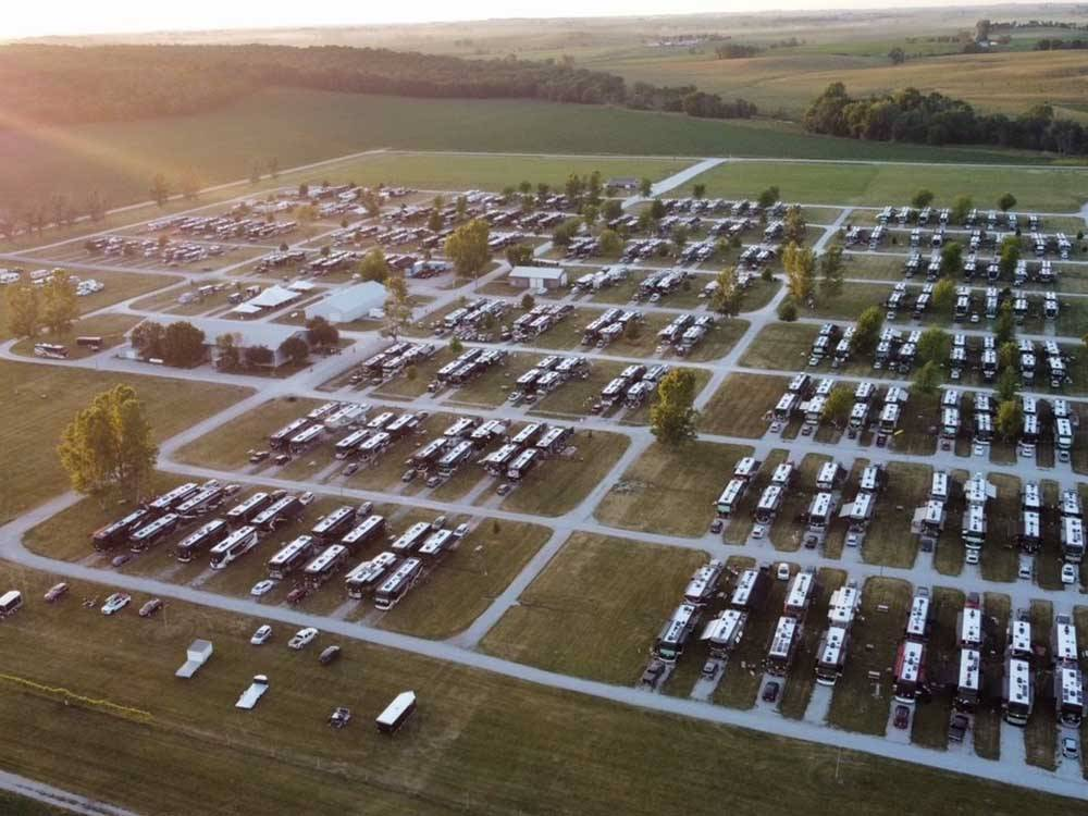 Aerial view over motorhome car and building  at AMANA RV PARK  EVENT CENTER