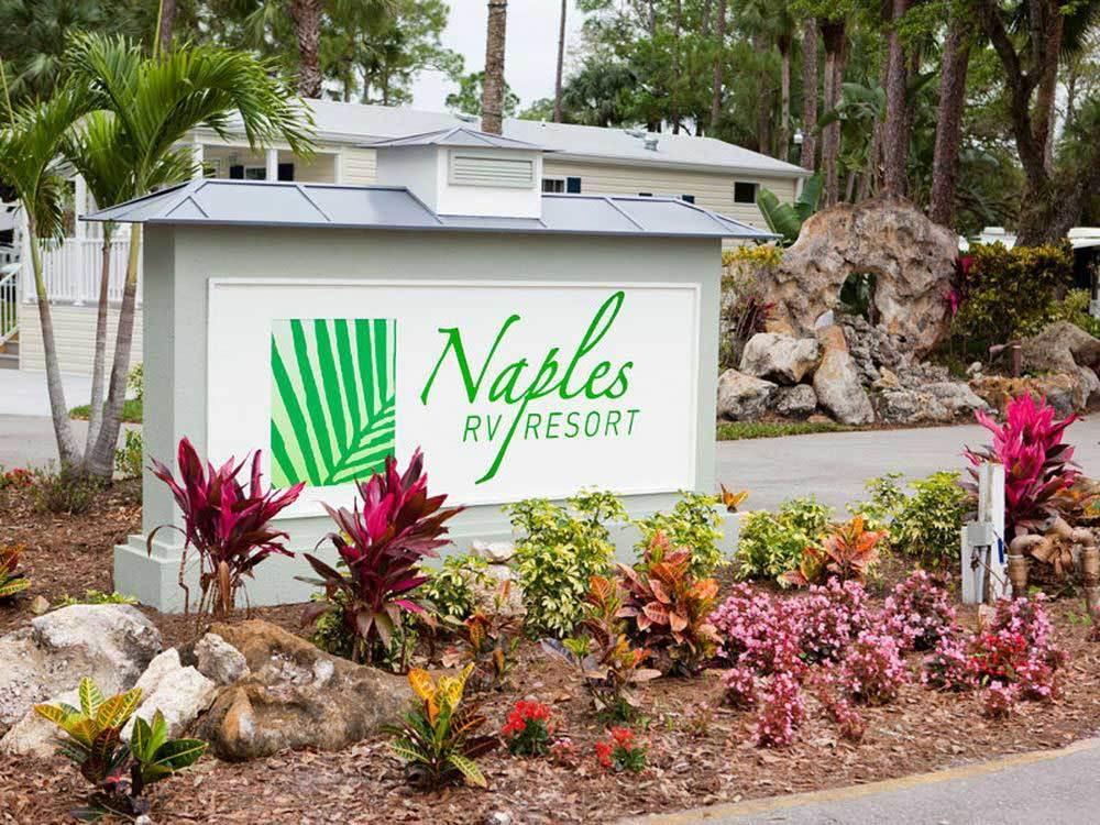 Sign at entrance to RV park at NAPLES RV RESORT