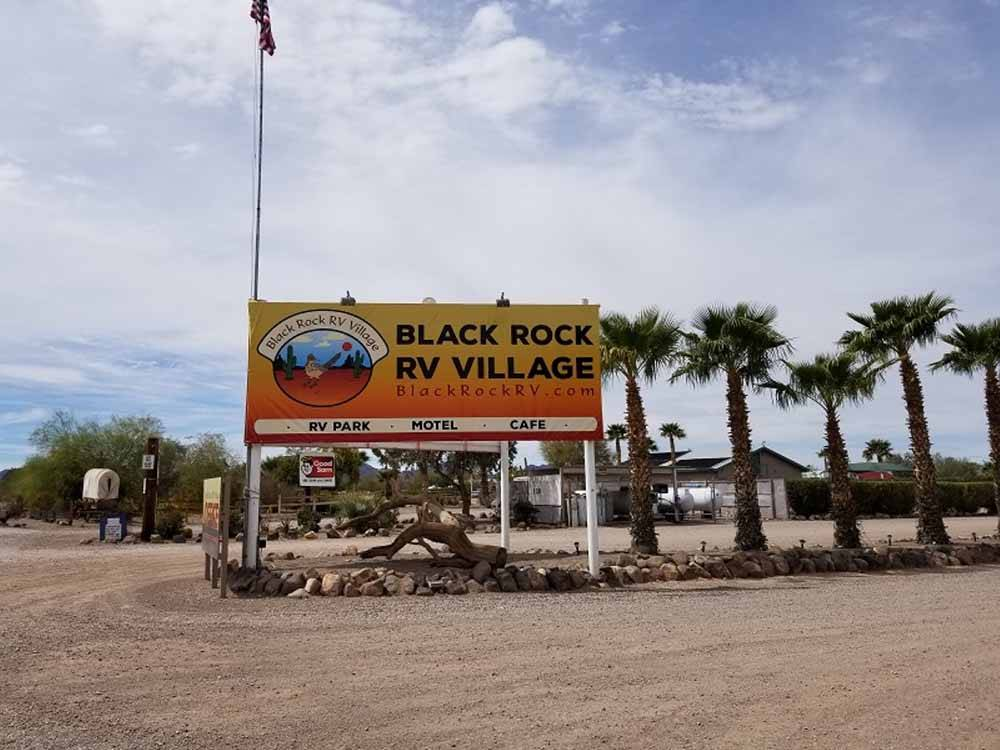 The front entrance sign at BLACK ROCK RV VILLAGE
