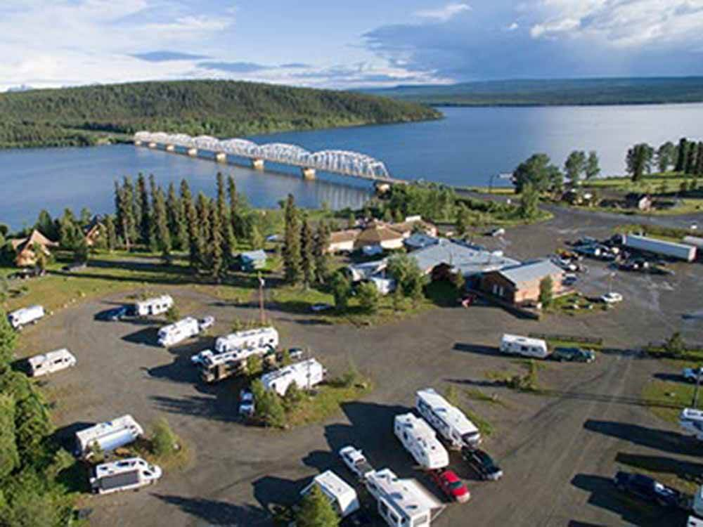 Aerial view over campground at YUKON MOTEL  LAKESHORE RV PARK