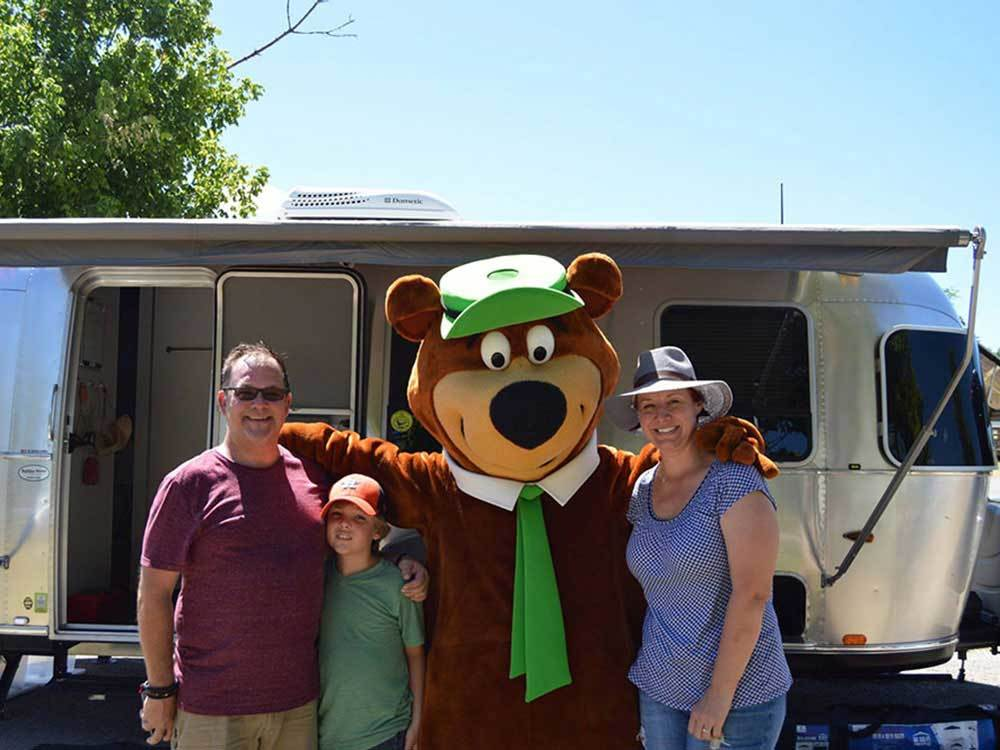 Yogi with family at YOGI BEARS GUADALUPE RIVER CAMP RESORT