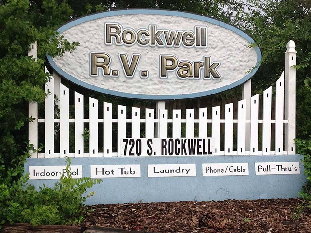 Sign leading into RV park at ROCKWELL RV PARK