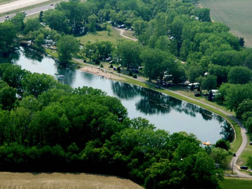 Aerial view of RV sites on the lake at LEHMANS LAKESIDE RV RESORT