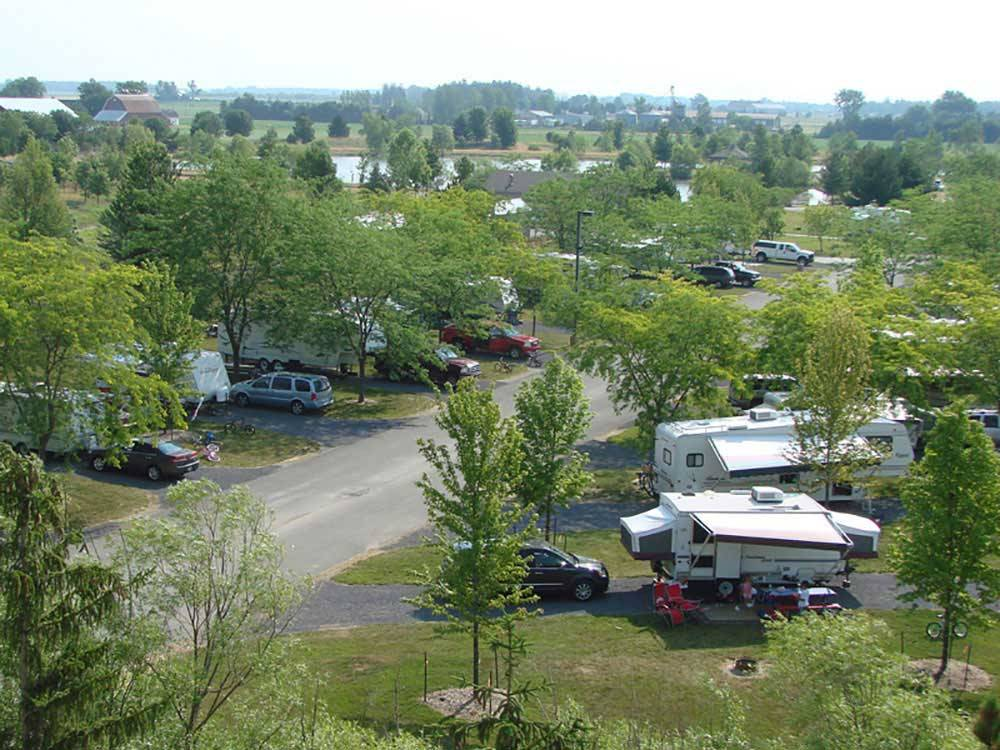 Amazing aerial view over resort at SAUDER VILLAGE CAMPGROUND
