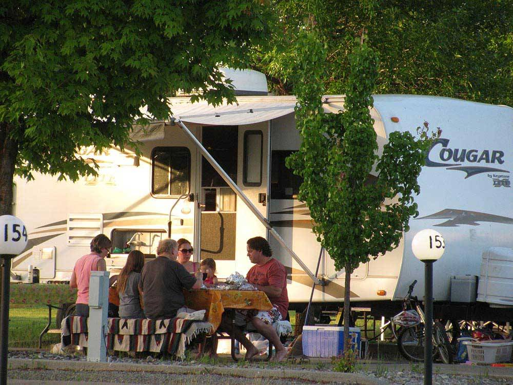 Trailer camping at COEUR DALENE RV RESORT