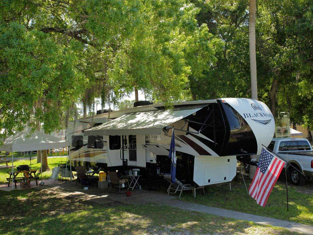 Trailer camping at PIONEER VILLAGE RV RESORT