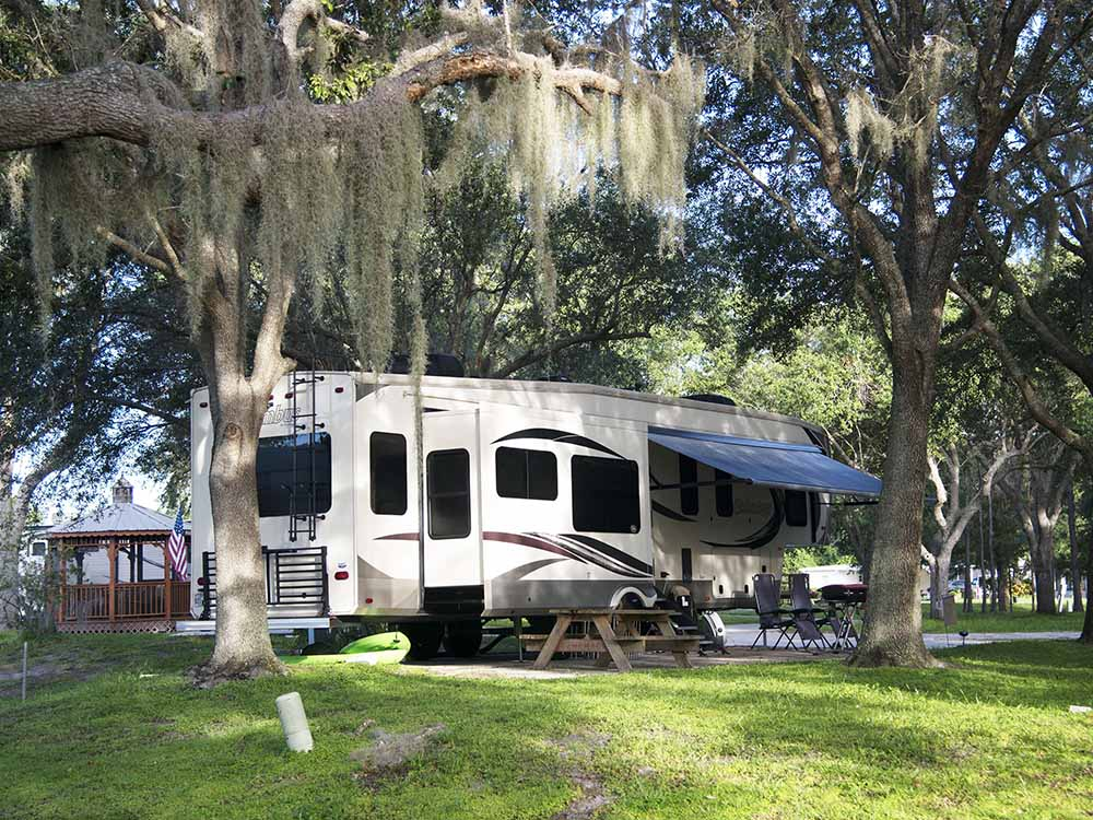 A travel trailer parked under a tree at CAMP MACK A GUY HARVEY LODGE MARINA  RV RESORT