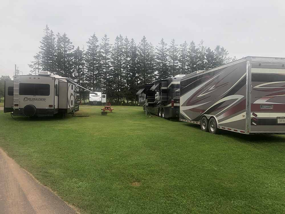 RVs and trailers at campground at BORDENRED SANDS SHORE KOA
