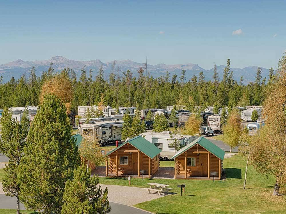 An aerial shot of the camping cabins and RV sites at YELLOWSTONE GRIZZLY RV PARK
