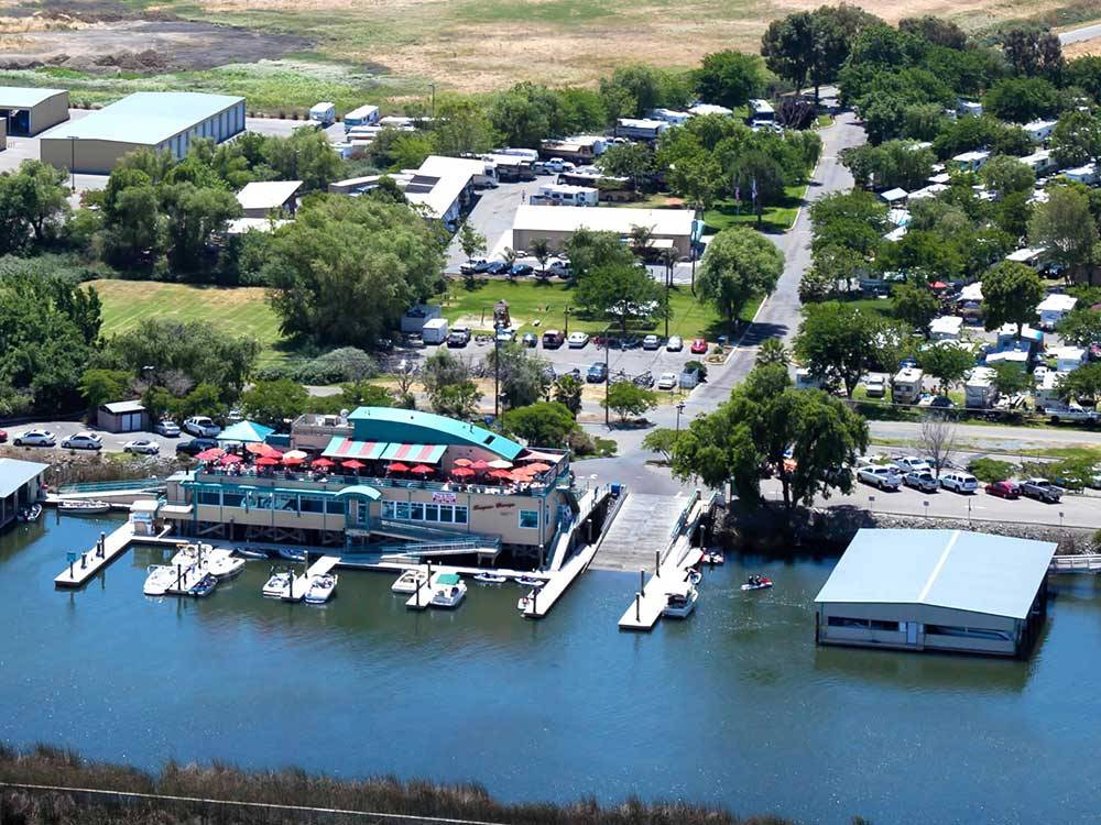 Aerial view of park and barge at SUGAR BARGE RV RESORT AND MARINA