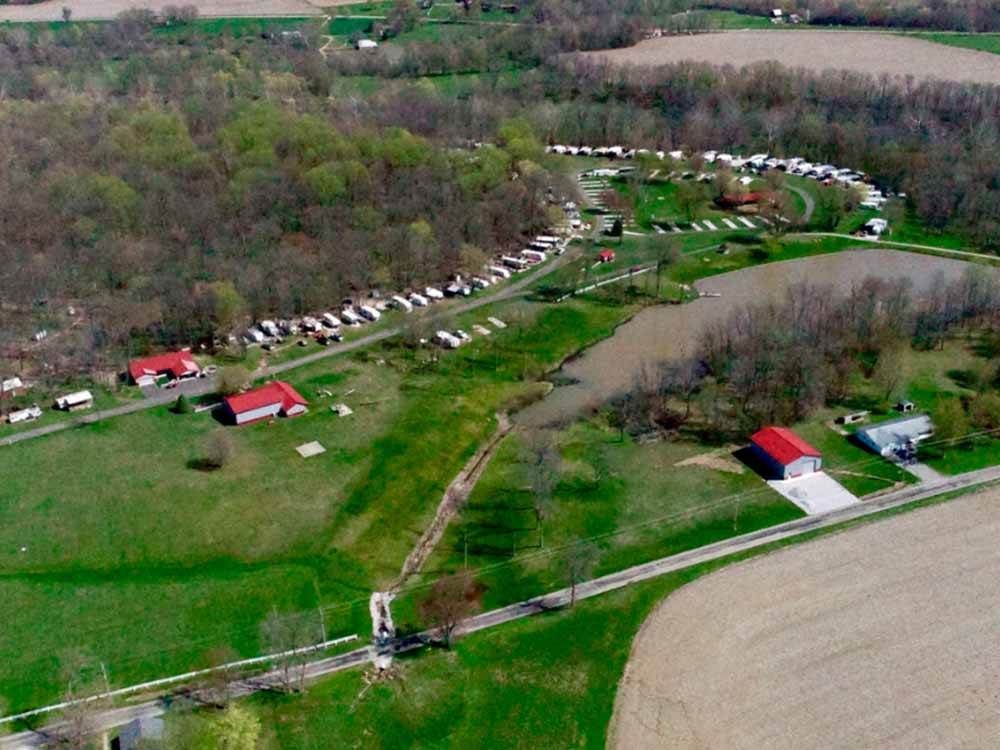 An aerial view of the camp sites at CHARLAROSE LAKE  CAMPGROUND