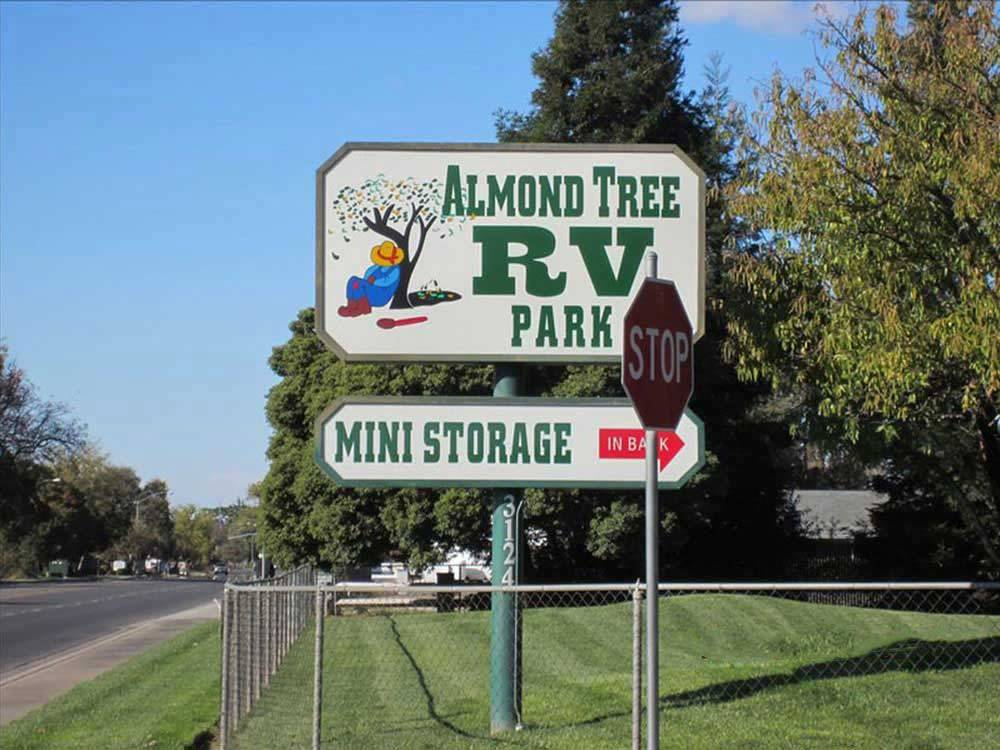 Sign at entrance to RV park at ALMOND TREE RV PARK