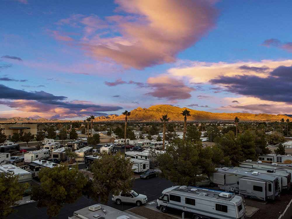 An aerial view of the RV sites at ARIZONA CHARLIES BOULDER RV PARK