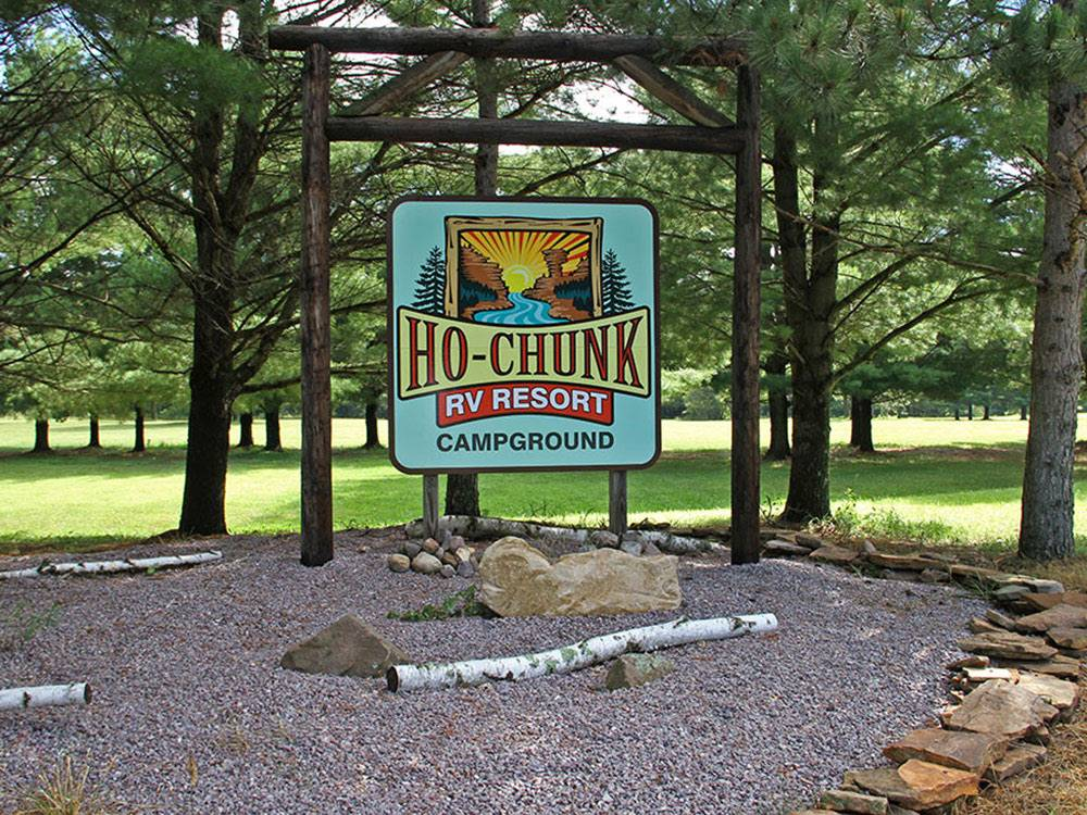 Sign leading into RV park at HO-CHUNK RV RESORT  CAMPGROUND