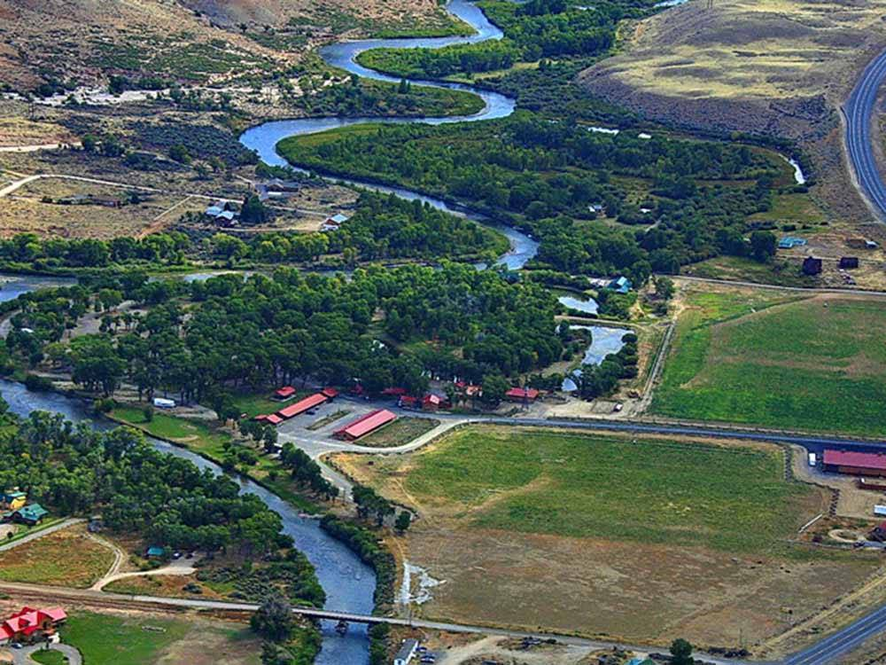 Magnificent aerial view of campground at THE LONGHORN RANCH LODGE AND RV RESORT