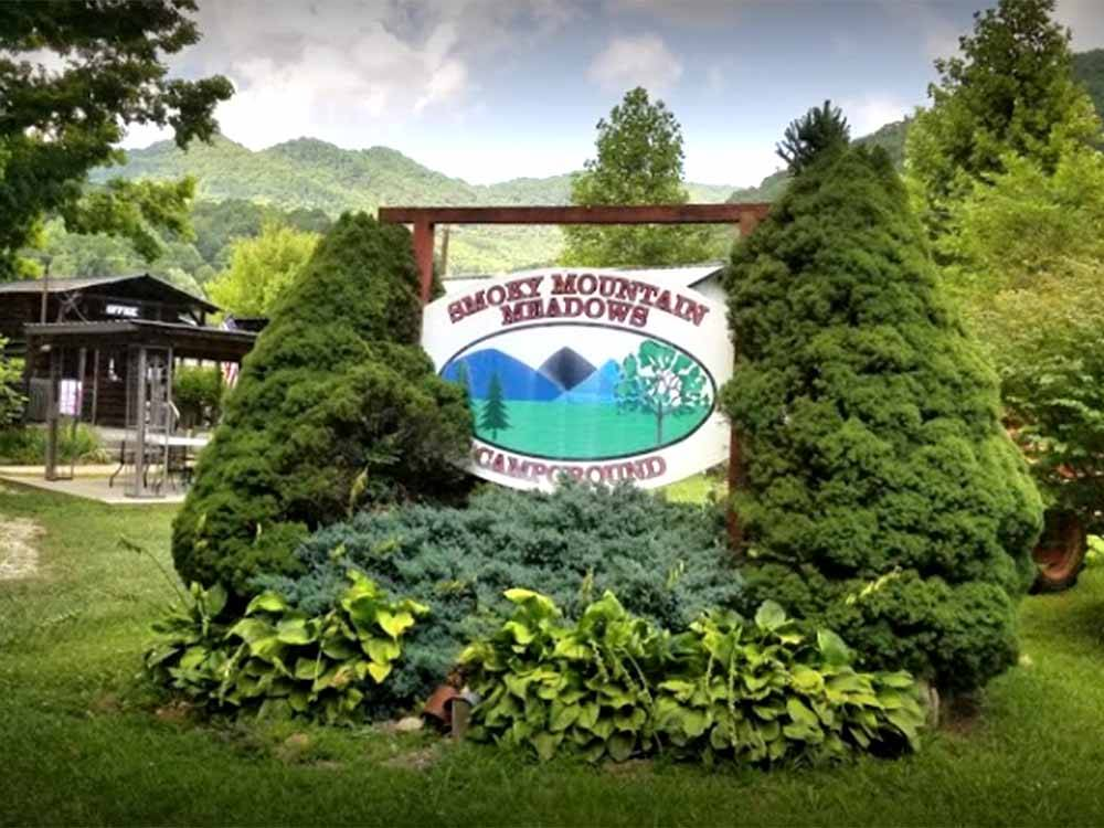 The front entrance sign at SMOKY MOUNTAIN MEADOWS CAMPGROUND