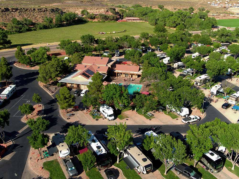 Amazing aerial view over resort at ZION RIVER RESORT RV PARK  CAMPGROUND