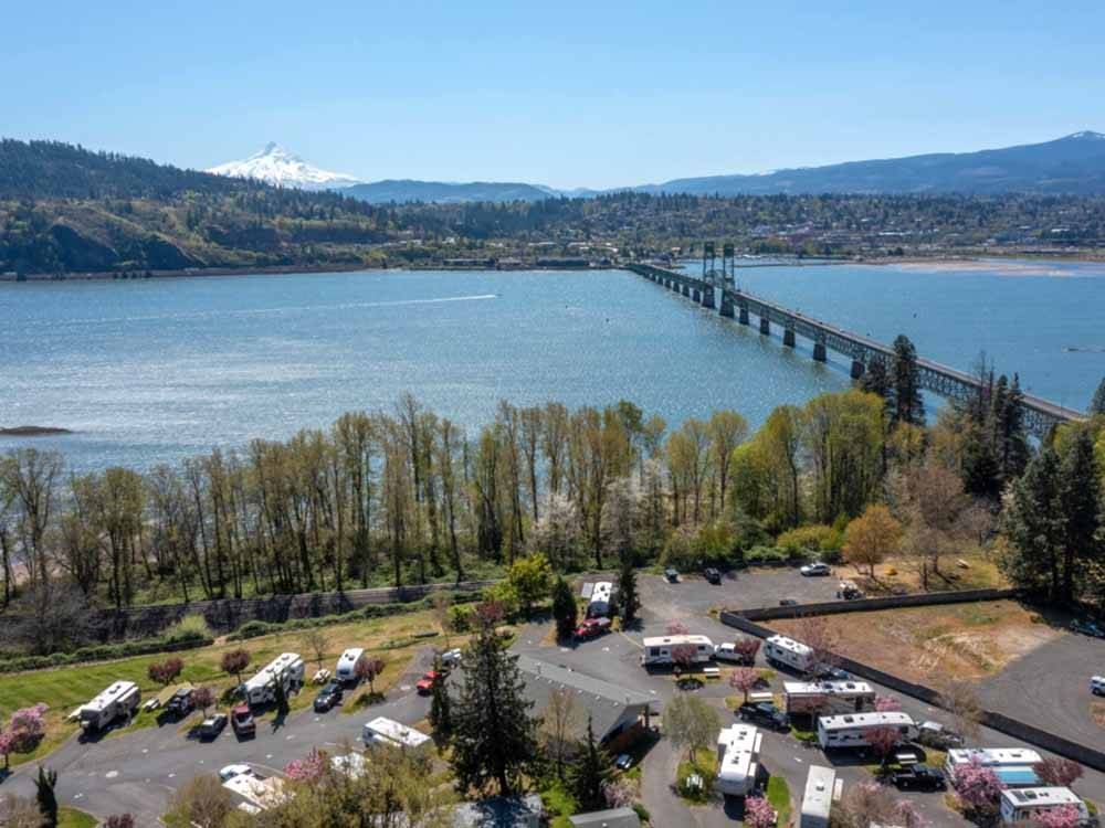 Sign at entrance to RV park at BRIDGE RV PARK  CAMPGROUND