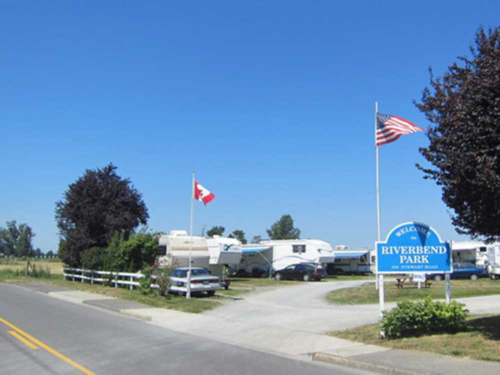 Flag poles at campgrounds at RIVERBEND RV PARK OF MOUNT VERNON