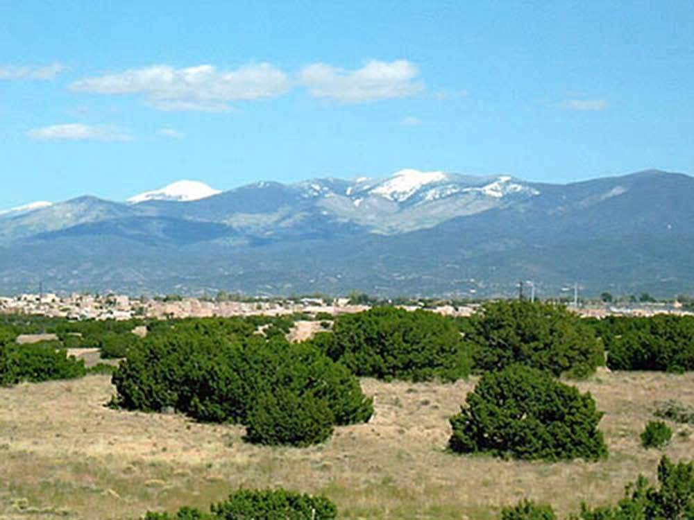 Snowcapped mountains at SANTA FE SKIES RV PARK