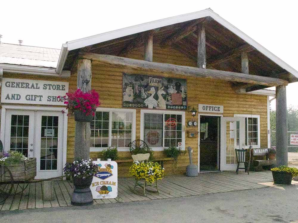 Inside lodge with checkerboard games at COUNTRY ROADS RV PARK