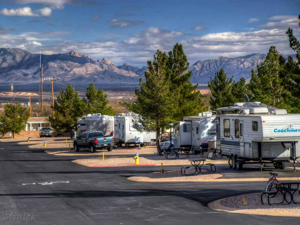 RVs in sites with a mountain view at BUTTERFIELD RV RESORT  OBSERVATORY
