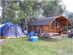 View larger image of Log Cabin with tents and picnic table at DEER PARK image #3