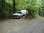 View larger image of Truck and trailer camping at BEAR DEN FAMILY CAMPGROUND AND CREEKSIDE CABINS image #5